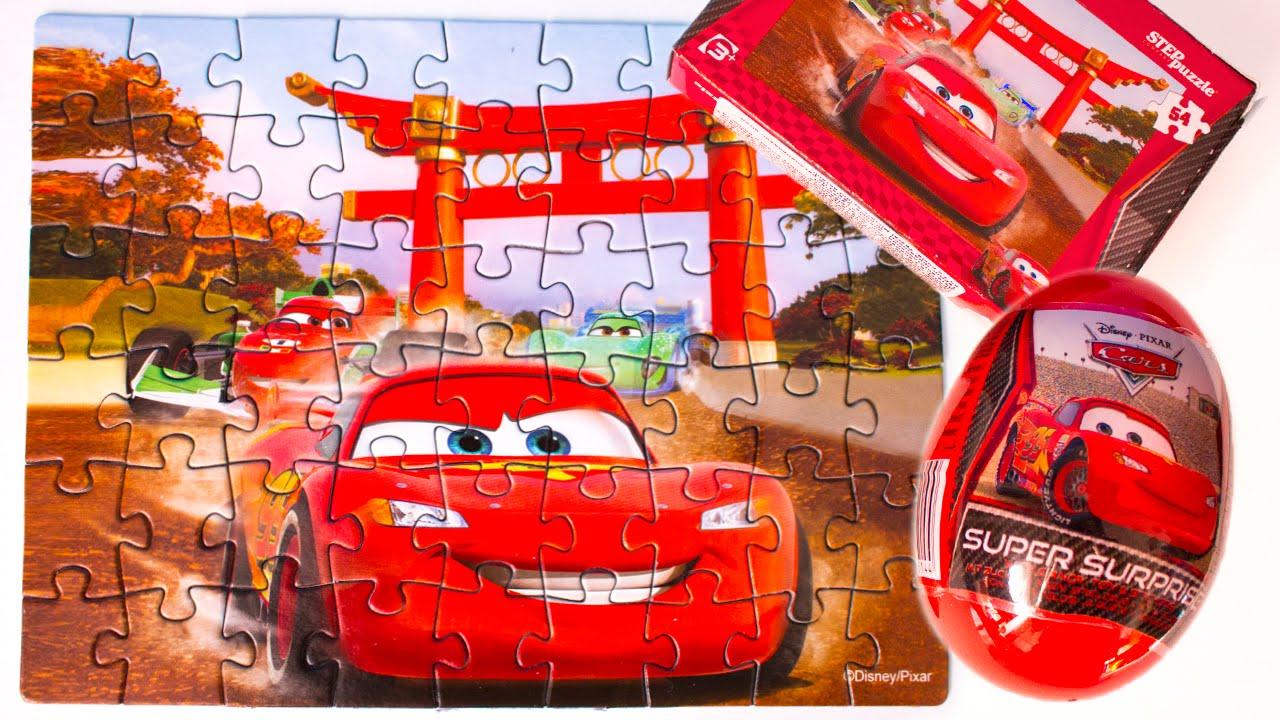 surprise egg disney pixar cars puzzle cars 2 kinder. Black Bedroom Furniture Sets. Home Design Ideas