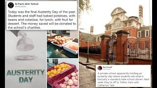 Private school slammed for holding 'Austerity Day' and serving jacket potatoes