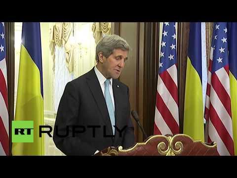 Ukraine: Kerry and Poroshenko give first presser as Kiev talks begin