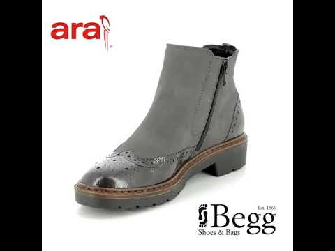Ara Portland Brogu 60004-75 Grey patent Chelsea Boots
