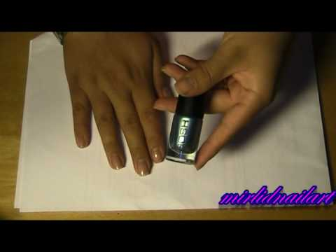 Metallic blue with zebra stripes - tutorial - short nails Video