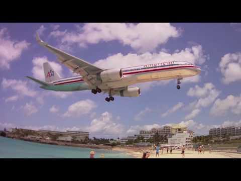 Amazing Maho Bay Beach Planes Landing - St Maarten Island Princess Juliana Airport Caribbean