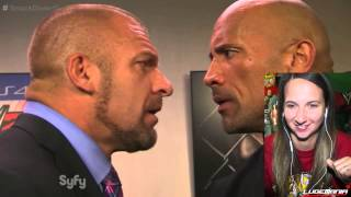 WWE Smackdown 10/10/14 BACKSTAGE The Rock and Triple H