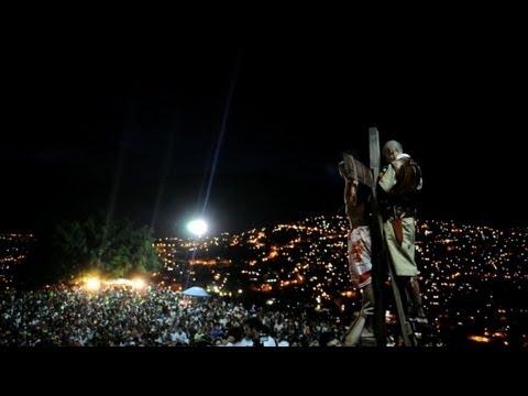 Crucifixion reenactment in Venezuela slum