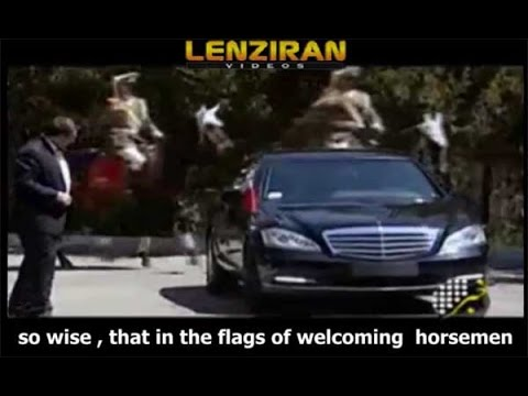 Horsemen carry Shia slogan whileTurkish president Erdogan arrive to meet Hassan Rouhani