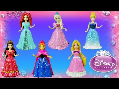 12 Disney Princess Magiclip Fashions Sparkle Dresses Belle Rapunzel Cinderella Merida Frozen Elsa