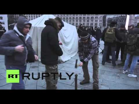 Anti govt  protests continue on Independence Square in Kiev, Ukraine