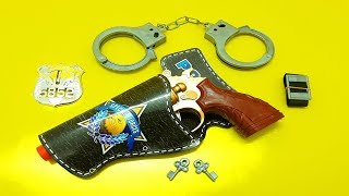 Police Gun Toys For Kids! Set of Realistic Gun Toys From the Box - Fake Nerf Police Toys Equipment