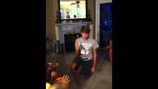 "Thad acting out ""Child Birth"" for Charades"