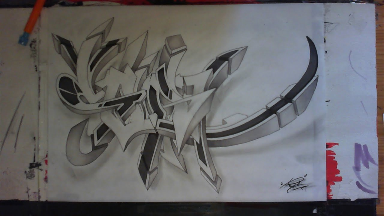 3d wildstyle graffiti sketch speed drawing sur papier