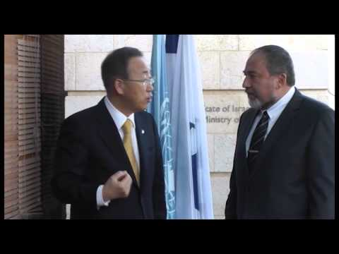Ban Ki-moon meeting with  Avigdor Lieberman in Jerusalem   Credit Naama pasternak