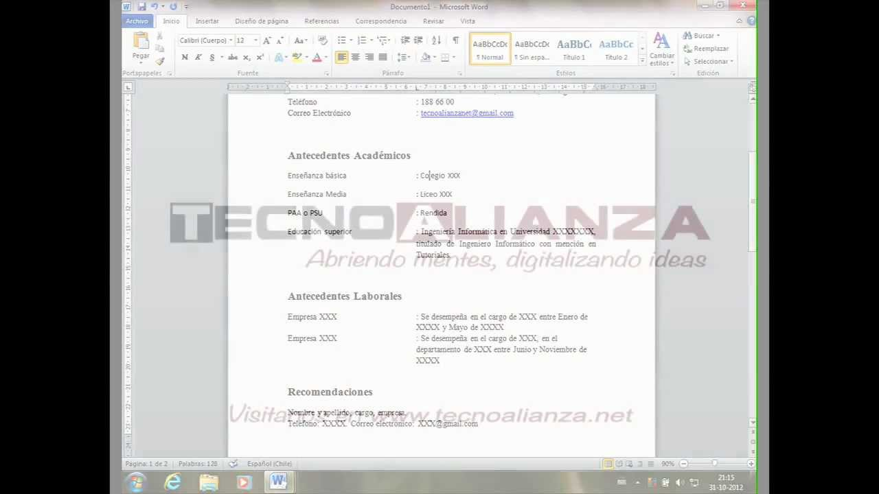 como hacer un curriculum vitae en microsoft word 2010