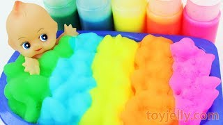 Learn Colors Baby Doll Body Paint Bubble Foam Bath Time Play Doh Ice Cream Baby Finger Family Songs