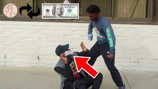 Asking Strangers for a Penny THEN Giving them $100 IN THE HOOD! SOCIAL EXPERIMENT