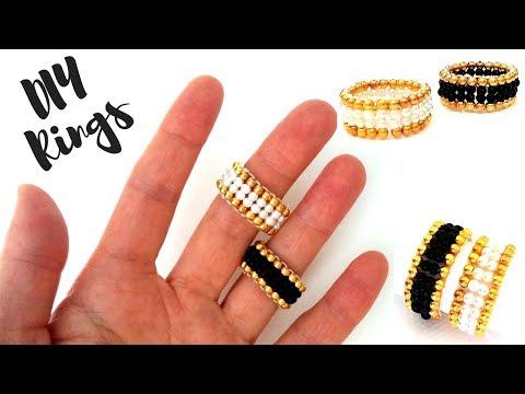 10 minutes DIY ring. Beaded rings for beginners. ring making tutorial - YouTube