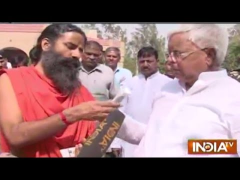Baba Ramdev Meets Lalu Yadav, Offers Patanjali Chocolate and Face Cream