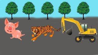 Đồ chơi trẻ em  🚛 đồ chơi ô tô 🚛 Máy Xúc Cứu Lợn Khỏi  Bị Hổ Ăn Thịt