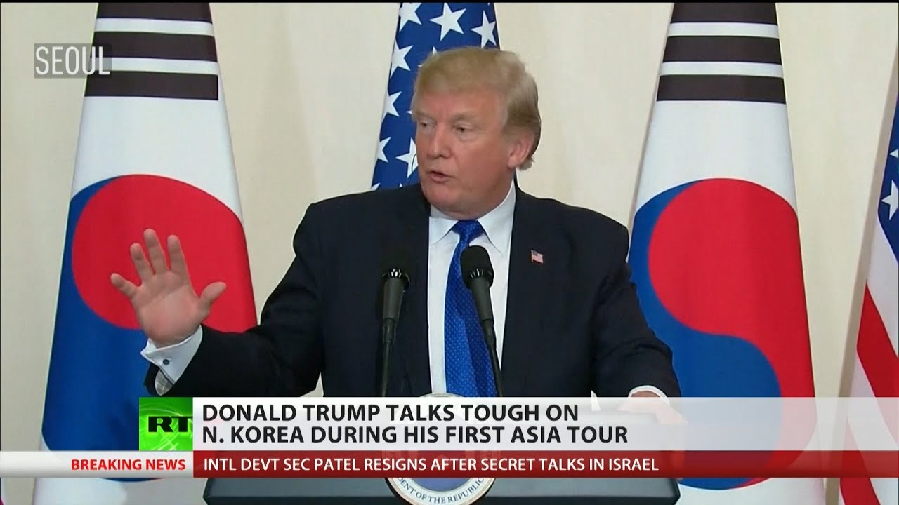 Donald Trump talks tough on North Korea during Asia tour