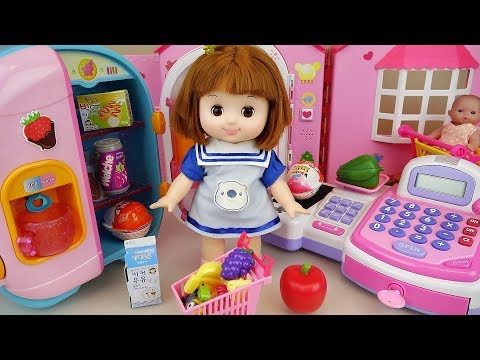 Baby doll refrigerator food and mart register toys play