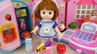 Baby doll refrigerator food and mart register play