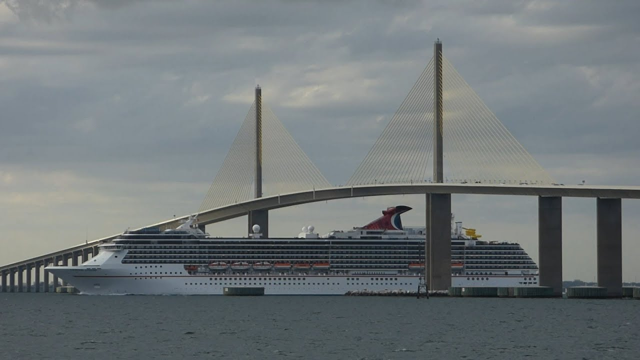 Carnival Legend Under Sunshine Skyway Bridge Tampa 4 13 14