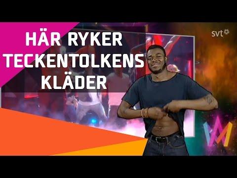 Samir & Viktors teckentolk tar av sig kläder i Melodifestivalen 2016