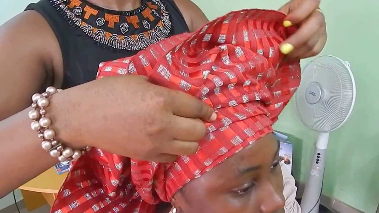 How To Tie Bridal Head Gear With Aso Oke 2014 Youtube