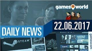 Gamescom und Angela Merkel, Uncharted-Zukunft, Steam-Sale  Gamesworld Daily News - 22.06.2017