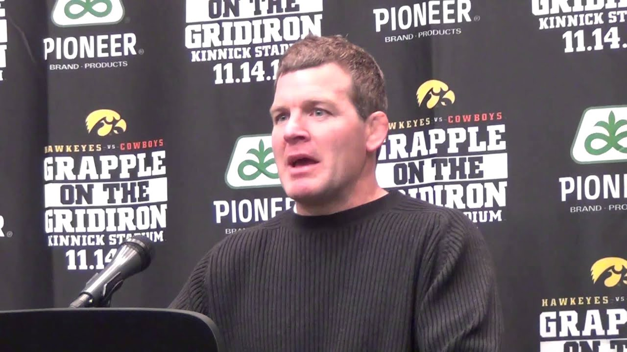 Iowa coach Tom Brands after win at the Grapple on the Gridiron