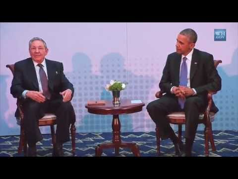 Barack Obama & Raul Castro President of Cuba Historic Meeting