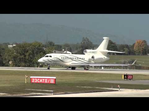Dassault Falcon 7X TAG Aviation take off rwy 23 at Geneva Cointrin [GVA/LSGG]