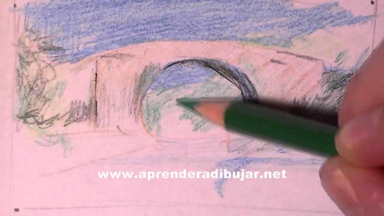 Dessin de paysage avec des crayons de couleur comment - Dessiner un paysage ...