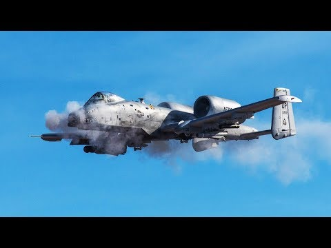 Awesome A-10 Warthog in Action / Firing the Dreaded GAU-8 Gatling Gun VS Humvee