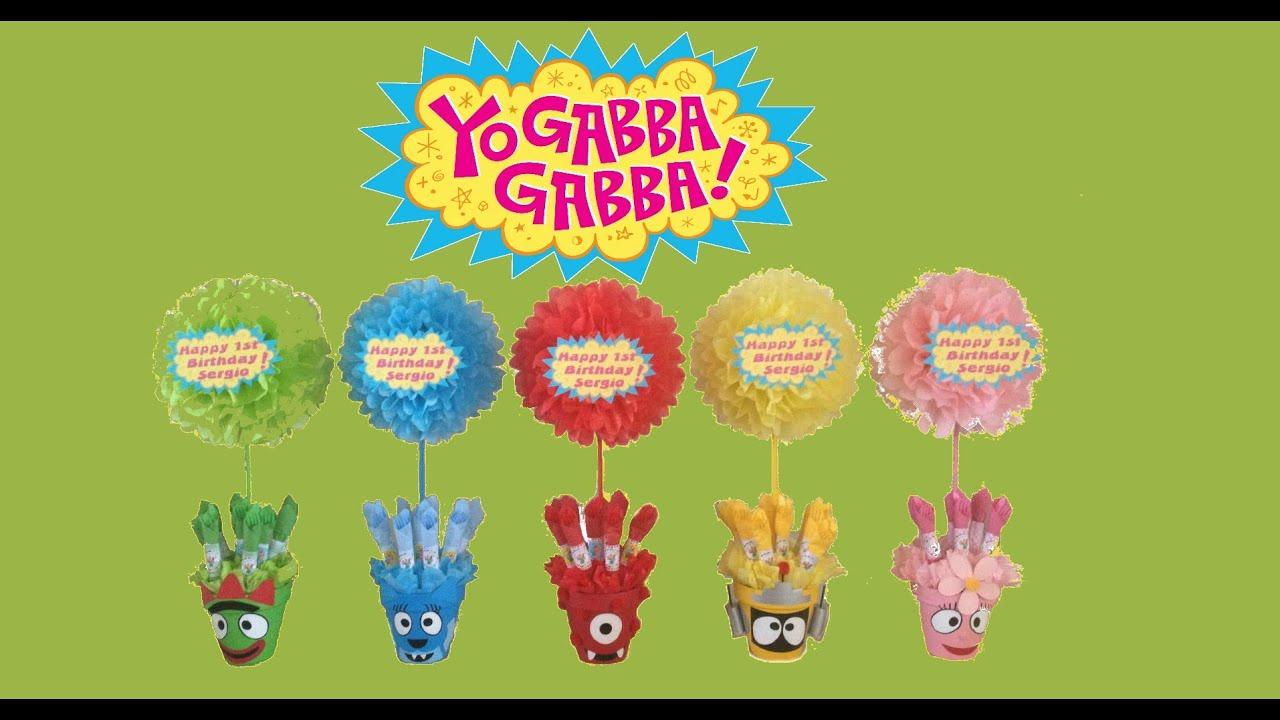Yo gabba gabba party centerpieces youtube for Decor yo pops