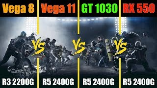 Ryzen 3 2200G vs Ryzen 5 2400G vs RX 550 vs GT 1030 Rainbow Six Siege