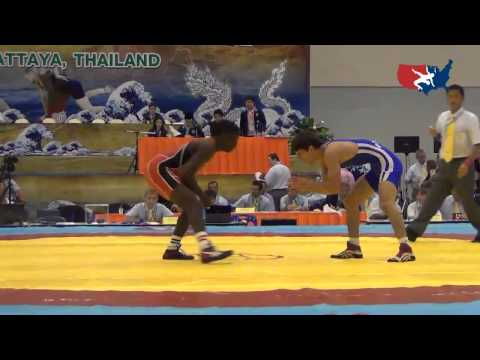 2012 Junior Worlds - FS 60kg - Earl Hall (USA) Vs. Valdoya Frangulyan (ARM)