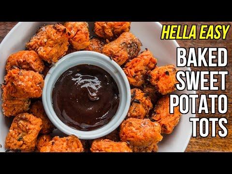 Hella Easy Baked Sweet Potato Tots / Croquetas de Batata al Horno thumbnail