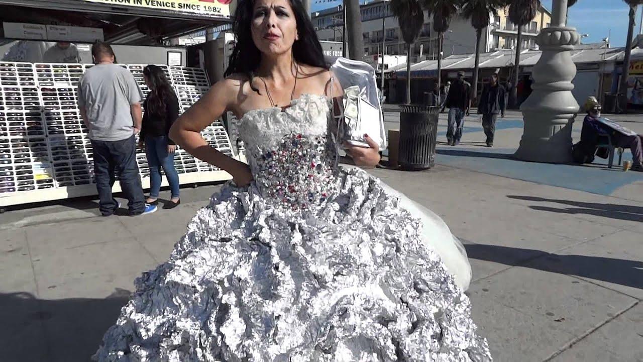 Hand Made Tin Foil Dress Venice Beach California Jan 8