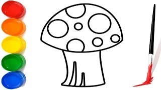 How to Draw a Mushroom For Kids | Drawing And Coloring Mushroom Easy step by step Learn colors