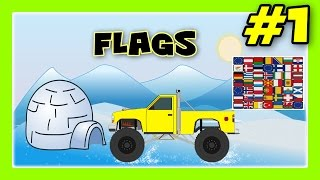 LEARN FLAGS - Monster Trucks with Flags of Europe, Flags for Children #1