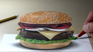 3D Trick Art on Paper Hamburger