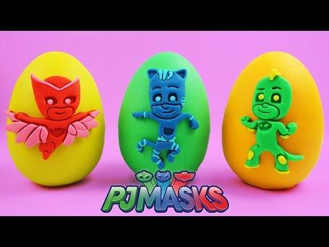 Giant Play Doh PJ Masks Surprise Eggs Gekko, Catboy, Owlette