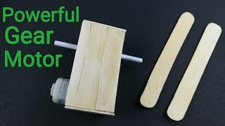 How to make Powerful DC Gear Motor at home