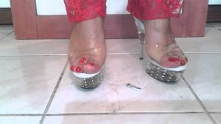 Lola dephsacha dangling crossdresser platforms mules wife crush cigarette red toes