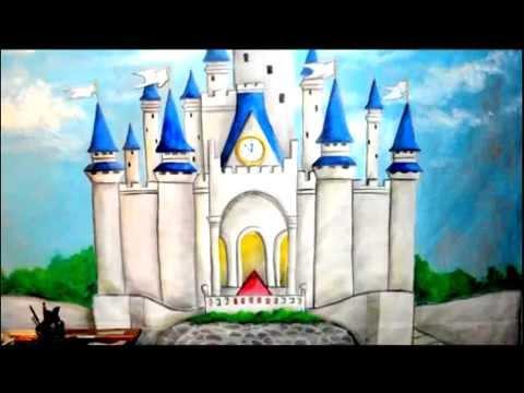 Castillo cenicienta dibujo mural youtube for Un mural facil de hacer