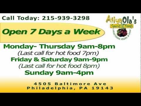 Philly Vegan / Vegetarian / Raw Food  Resturant - Atiya Ola's Cafe Webmercial