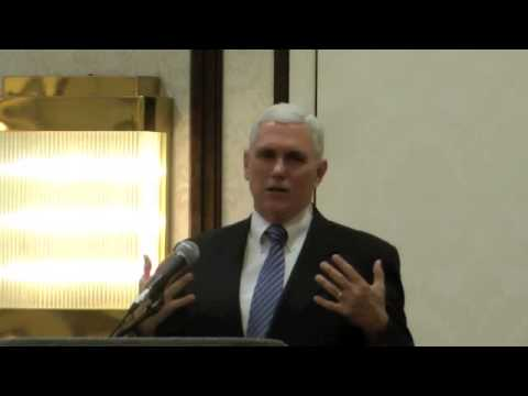 Indiana Governor Mike Pence speaks at the 2013 H. Kent Weldon Conference on Higher Education
