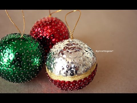 Esferas para navidad lentejuela manualidad facil youtube - Manualidades de bolas de navidad ...
