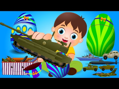 Surprise Eggs Toys for Kids | Learning Military & Army Vehicles | Little Kids TV