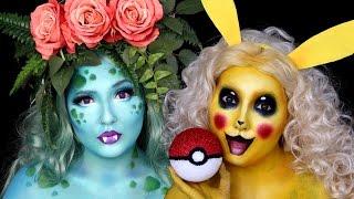Pokemon Pikachu & Ivysaur Halloween Makeup Tutorial